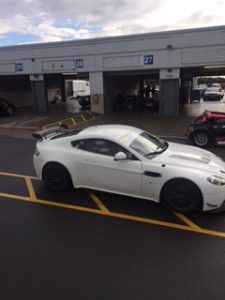 Aston Martin pulling in to the pit lane....